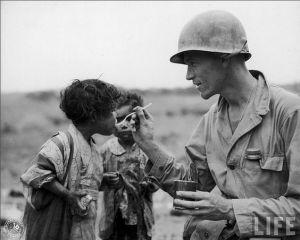 soldier feeding